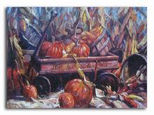 Golden pumpkin and corn garden scenery oil painting
