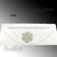 02546WH PU Leather Rhinestones Ruffles Whites Hand Shoulder Clutch New Evening Bag
