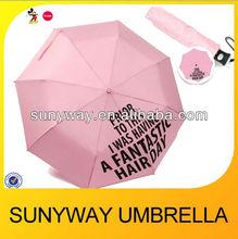 540mm*8ribs pink automatic 3 fold umbella crossing printing