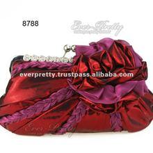 08788RD Hand Shoulder Reds Flower Rhinestones Clasp Bridal New Clutch Evening Bag
