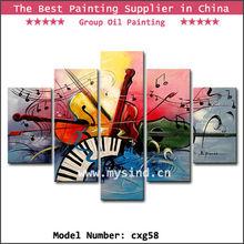5pcs handmade musical instrument oil painting