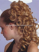 Blond Curly Ponytail Hairpiece w/Drawstring Pageant Bun
