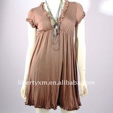 fashion look rayon spandex knitted V neck ruffle dress shirred edge