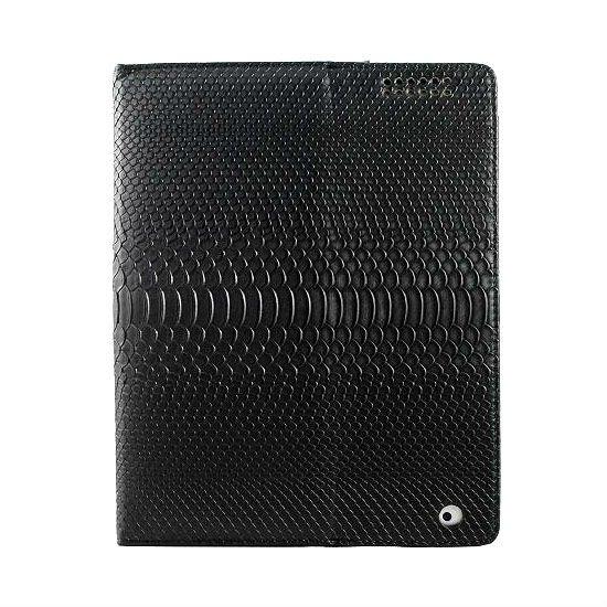 Wallet case crocodile embossed for iPad 2 Black