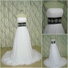 Plain White long wedding dress with black belt on waist