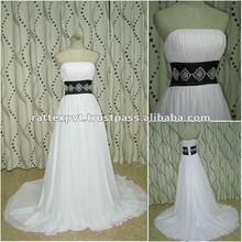 Plain White long wedding dress with black belt on waist