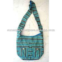 Cotton Canvas Turquoise Blue Color Stripes Hippie Indian Sling Cross Body Long Shoulder College Bag