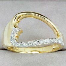 diamond rings platinum - 9K Solid Yellow Gold Genuine Diamond Ring (DR3271_dia)