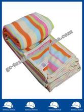 microfiber stripe printed brushed Fleece Home blanket/Throw with jersey binding edge