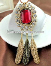 Yueya Red Ruby Crystal Rounded Crystal Pendant Chained w three Feather Tassels Necklace