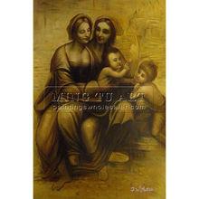 Handmade classical reproduction oil panting, Testa di Faniciulla Detta, The Virgin And Child With St. Anne-Leonardo Da Vinci