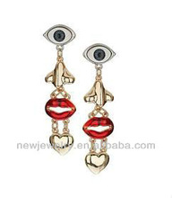 Delicate nightclub personality charm eyes, nose lips love stud earring jewelry