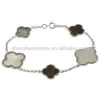 Wholesale 2013 La Preciosa Silver Mother of Pearl and Abalone Shell Clover Bracelet
