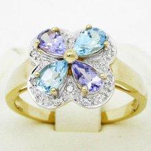 fashion jewelry earrings - 9K Solid YG Genuine 0.85 ct Swiss Blue Topaz, Iolite and Diamond Ring (DR5031_IOL_BT)