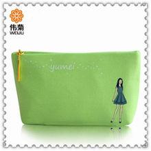 Newest Design Green Star Popular Canvas Custom Girls Market Cosmetic Bag