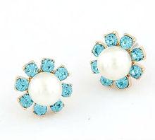 PE039 High quality exquisite blue rhinestone pearl sunflower earrings