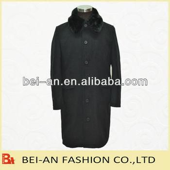 fake fur collar woolen coat for men