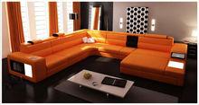 leather corner Sofa U shape with light and box