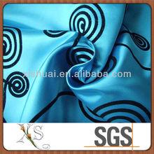 Flocking Satin Brocade Fabric