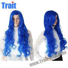 Stylish Kanekalon Fiber Side Bangs Dark Blue Cosplay Wig