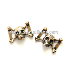 Skully Skull Shoe Lacer Boot Bling in Solid Bronze - 3D gold Shoelace Charms