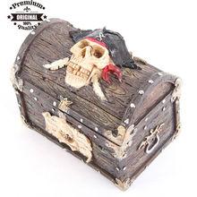 polyresin Pirate Skull Treasure Chest Trinket Box