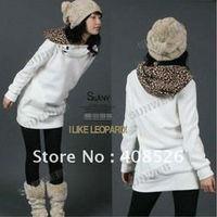 2012 Fashion New Spring/Autumn Cotton Parka Women Leopard Hoodie Coat coat Sweatshirt Top Outerwear 3283