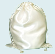 Round base satin pouch embroidered bag for gift