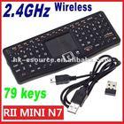 PC Laptop 2.4GHz Wireless Keyboard RF 2.4G Rii Mini N7 Touchpad LED USB Receiver