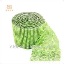 green rhinestone mesh wedding favors