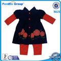 Bebê atacado roupas das meninas 2 pcs Set vestido sólida e Dot impressão curto