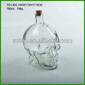 pequenas crânio em forma de gelo vinho tinto de vidro de garrafas