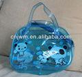 Clarity pvc saco cosmético sacos de pvc com banheiro impressão bag para embalagem com alça