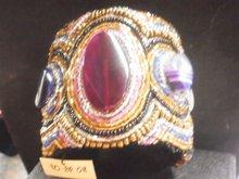 embroidered cuff bangle with semi precious stones
