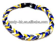 Handmade Quad 4 Braid Aqua-titanium Aqua-germanium Anion Sport Necklace Black / White / Blue / Yellow for Men
