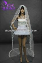 New Arrival OEM zhenzhen Lace Edge Bridal long Veil HY-V002