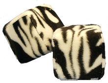 Zebra Safari Animal Print Car Mirror Fuzzy Dice - Black & White - Pair