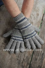 Hand made knitted wool gloves