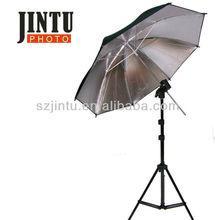 Photographic equipment studio flash light and silver reflector umbrella kit