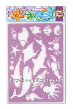 Stencil ruler,drawing template,transparent color,ocean shape