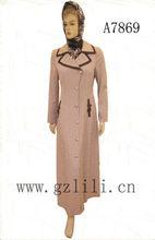 fashion trendy cocktail muslim shirt dress long sleeve abaya gamis baju busana muslimah for woman wholesale A7869