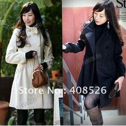Double Breasted Wool Women's Coat Warm Long Lining Winter Jacket Wholesale Black, White 3252