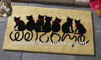 Lucky cat rubber custom welcome mats/Front Door Doormat