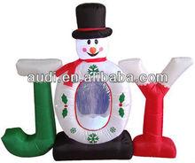 Christmas Joy Snowman Inflatable Snow Globe