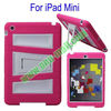 Attractive for iPad Mini with Stand 2 in One Silicon Plastic Case Cover (Pink+White)