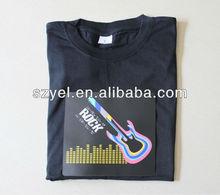Poly Bag Package 4AAA Battery Inverter EL Tshirt, EL T-shirt online Selling