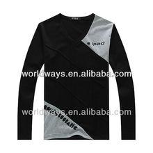 Multicolor diamond lines design mens combed cotton t shirts