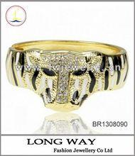 18K Gold Plated GP Stretch Charm Black 2012 Enamel Leaf Bangle Bracelet A1379K