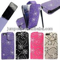 butterfly FLOWER BLING GLITTER leather flip case for iphone 5 5g