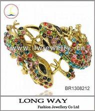 18K Gold Plated GP Stretch 2012 Dichroic Enamel New Leaf Bangle Bracelet A1381K